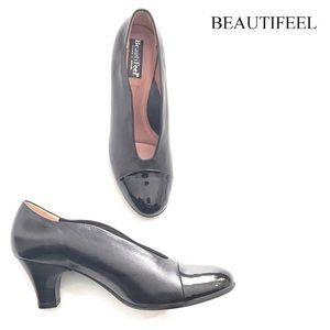 BeautiFeel MAYA BLACK LEATHER PUMPS PATENT CAP TOE